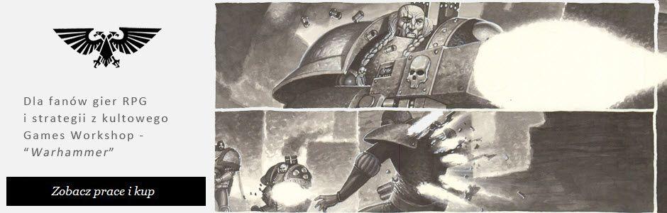 Warhammer 40.000 - gra, rysunki tuszem, plansze komiksowe.
