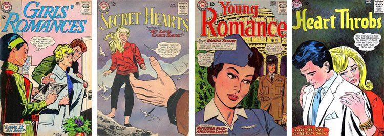 Girls' Romances, Secret Hearts, Young Romance, Heart Throbs, - okładki