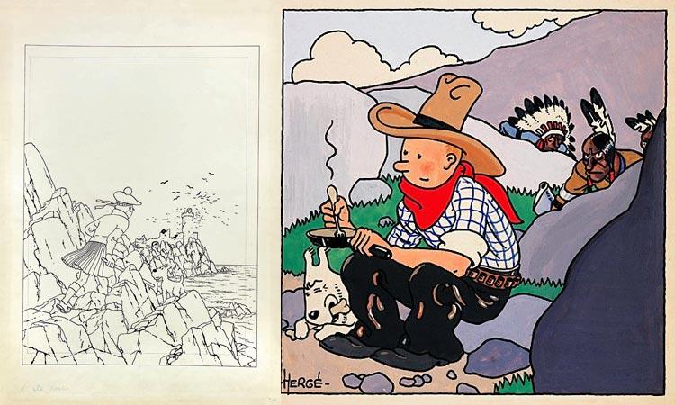 Herge na aukcjach Artcurial: Les Aventures de Tintin. L'ile Noire (1,011,200 €); Les Aventures de Tintin et Milou. Tintin en Amerique (1,338,509 €).