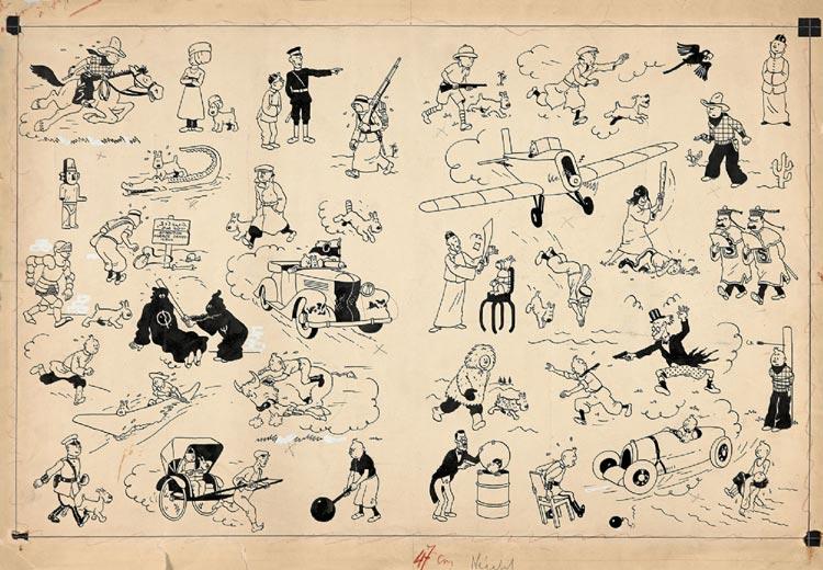 Tintin Herge na aukcji w Artcurial: Pages de Garde Blue Fonce (2,654,400 €).