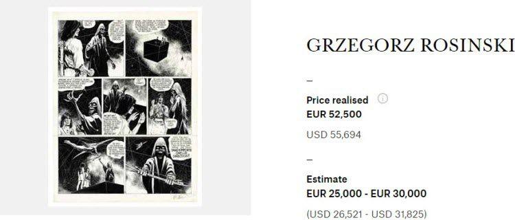 Grzegorz Rosiński, Thorgal, Christie's - Bande Dessinee.