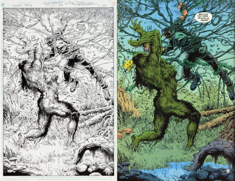 Swamp Thing #123, p. 20 - comic art, splash.