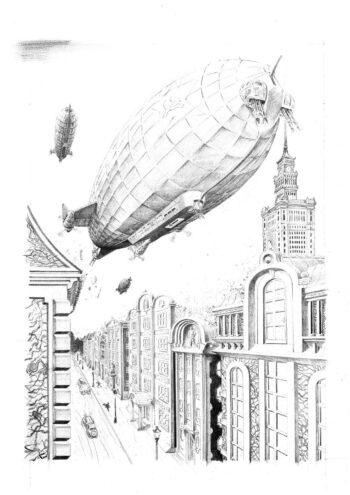 Zeppelin nad miastem