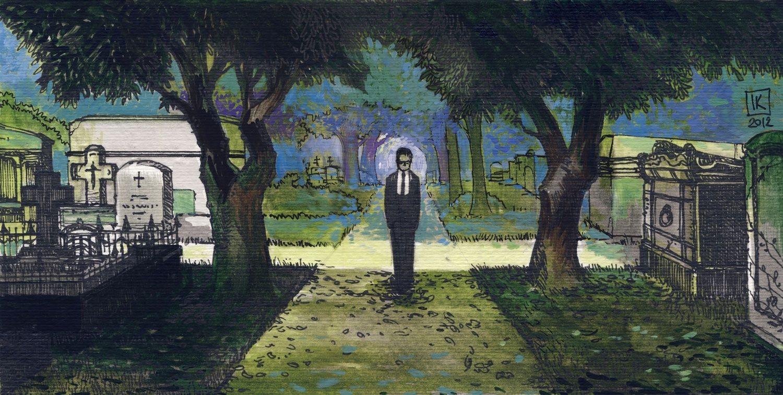 Chłopiec na cmentarzu