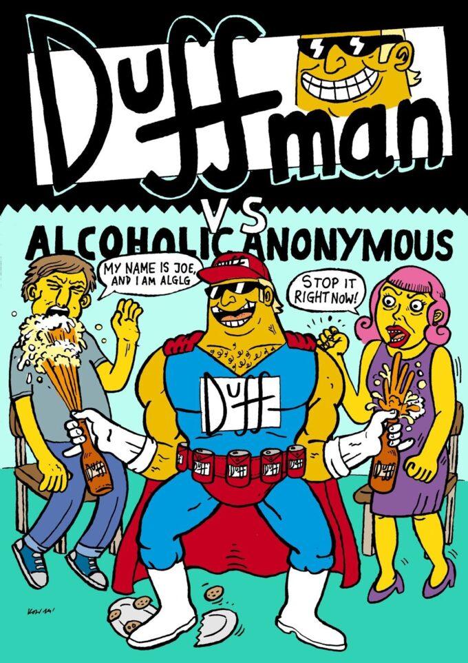 Duffman pin-up czarno-biały