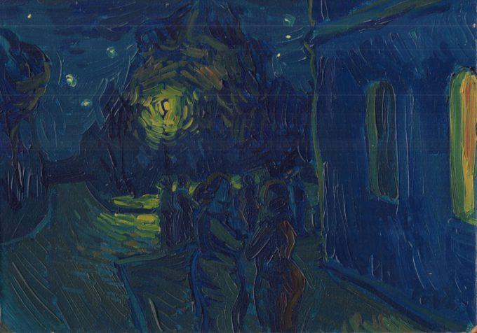 Loving Vincent: Grupa ludzi przed żółtym domem nocą