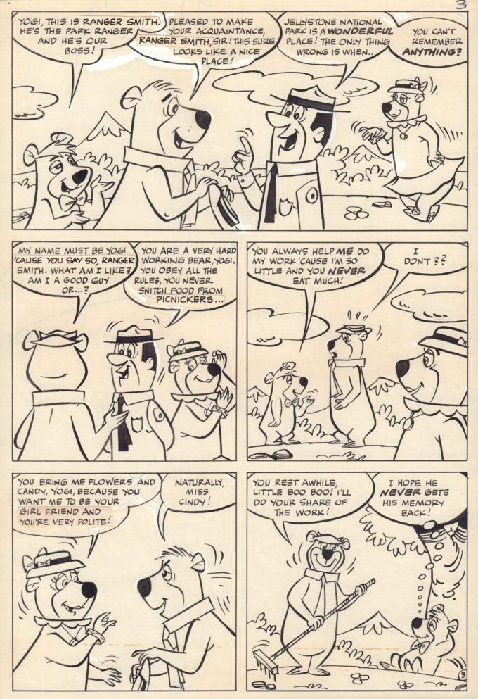 Yogi Bear #34 Brain Washed! - komplet 4 plansz czarno-biały