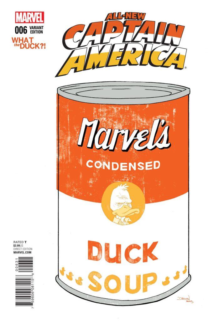 All-New Captain America #6 - okładka What the Duck?! czarno-biały