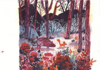 Malutki Lisek i Wielki Dzik - ilustracja do kalendarza